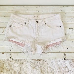 Free People White Denim Fray Shorts